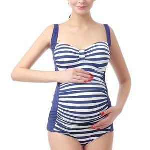 Kimi + Kai Blue & Ivory Striped Maternity Onepiece
